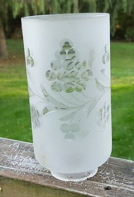 Vintage Frosted Glass Tubular Light Lamp Shade with Grape Pattern Cut to Clear