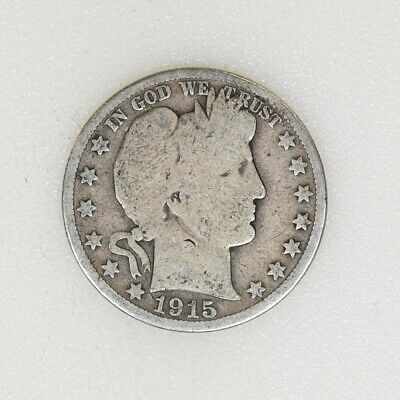 1915-D GOOD COND Barber Silver Half Dollar Last Year Nice Color - I-16682 G