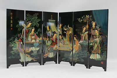 A Very Beautiful Chinese Oriental Miniature Screen Depicting The Arts  - B84