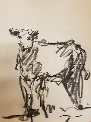 "JOSE TRUJILLO Original Charcoal Paper Sketch Drawing 12"" Modernist Cow Animal"