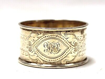 Antique 1873 Martin & Hall Hallmarked SOLID SILVER Napkin Ring 15g - T09