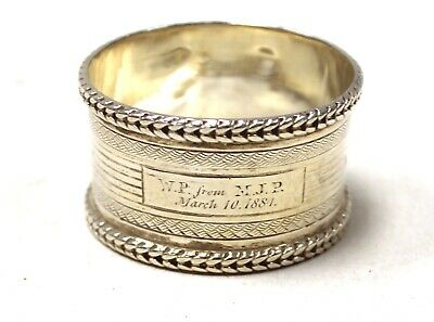 Antique 1883 Henry Atkin SOLID SILVER Hallmarked Sheffield Napkin Ring 22g - T09
