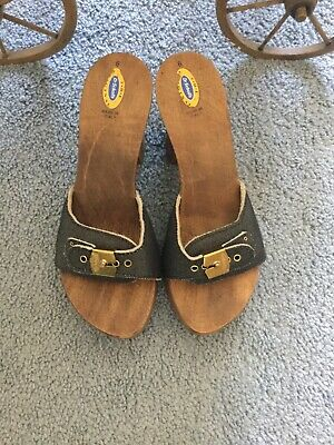 9f33fb61ba2a Original Dr Scholls Wooden Exercise Sandals Denim Blue Leather - Size 6 Heel