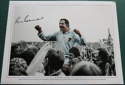 Bill Beaumont Signed England Rugby Union 1980 Five Nations Large Photo COA AFTAL