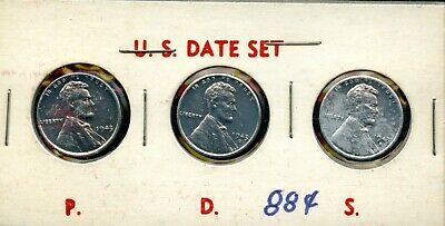 1943 P-D-S United States Lincoln Wheat Cent 1c Steel Penny 3-Coins QT267