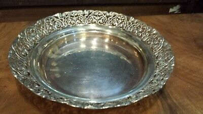 430g STERLING SILVER EMBOSSED TRAY CENTER HEAVY CARVING COLONIAL STYLE