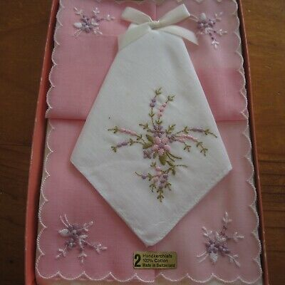2 x Embroidered Scalloped Pink White Swiss Cotton Hankies Boxed Vintage Retro