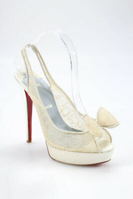 Christian Louboutin Womens Peep Toe Slingback Pumps White Lace Size 39.5 be5cb47d4