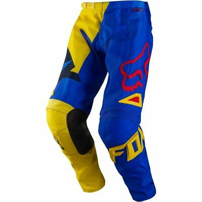 New Fox Racing 180 Vandal Pants Motocross Off Road Blue Yellow Youth Size 26