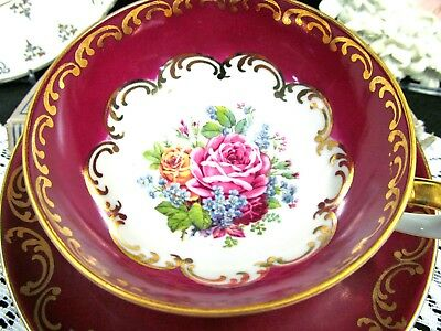 Bavaria Germany Tea cup and saucer red & gold gilt red base teacup wide mouth
