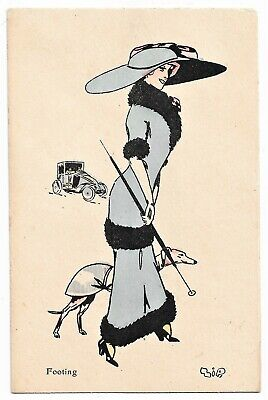 Fashionable Lady w Greyhound ? Whippet  Dog vintage c1920 Art Deco pc A/S ZIP