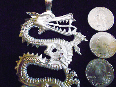bling SILVER plated MYTH CELTIC PAGAN fire dragon pendant charm hip hop necklace