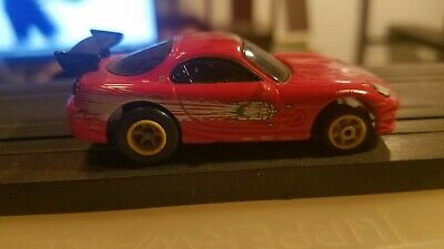 Red Veilside Sportscar On G Plus Chassis Slot Car Ho