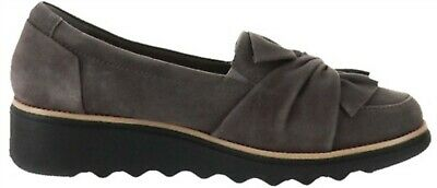 6d5f868098c CLARKS GREY SUEDE Sharon Dasher Knotted Detail Slip-on Loafers Flats ...