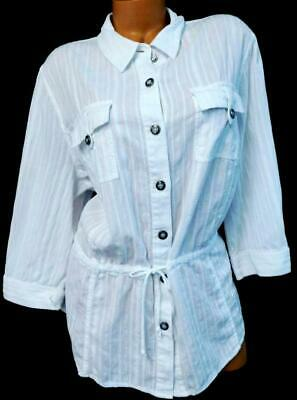0532ab89 Cj banks white plus size tie waist embroidered 3/4 sleeve button down top 2X