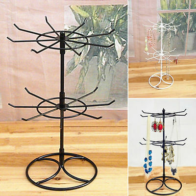 Iron Double Tier Art Rotating Jewelry Stand Necklace Display Holder Earring Rack