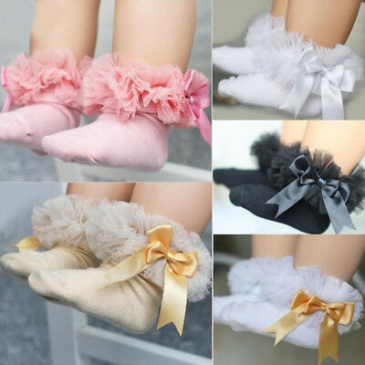AC_ NE_ Baby Girl's Tutu Socks Bow Lace Newborn Infant Frilly Sock Short Socks S
