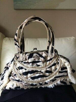"""medusa"" Funky Medium Faux Fur Cow Print/embroidery, Bronze Clasp, Vgc"