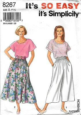 265424d852 Simplicity Sewing Pattern   8267 Misses Skirt And Split Skirt And Top Size  PT-XL