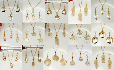 Fashion Women Pendant Necklace Chain Earrings Jewelry Set