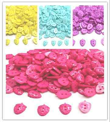 100 Pcs New fashion  2 holes lovely  Strawberry shape Sewing Buttons