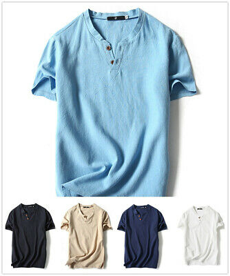 758d9bea51ff New Mens Casual Shirt Short Sleeve Linen Retro Summer Fashion Cool Flax T- shirt
