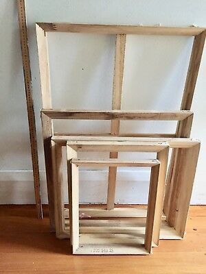 Artists canvas stretcher bars from used paintings, five different sizes.