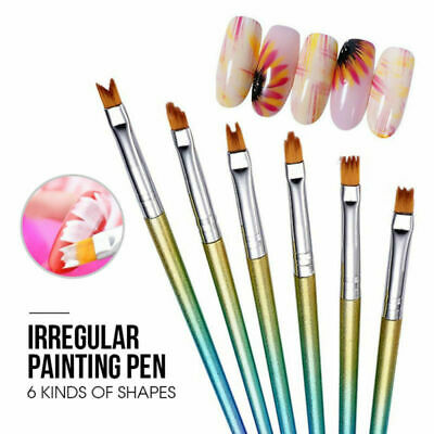 Saviland 6x/set Nail Art Gradient Acrylic Brush Painting  UV Gel Pen Manicure