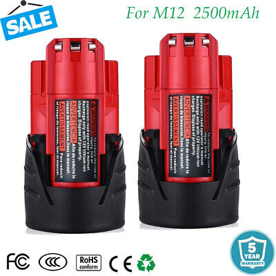 2X For Milwaukee 48-11-2401 M12 Lithium-ion 12V 12 Volt 2500mAh Battery Pack