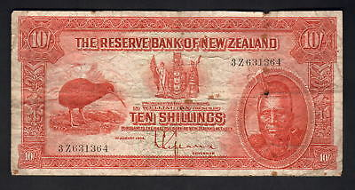 NEW ZEALAND P-154. (1934) 10 Shillings - Lefeaux.. Prefix 3Z..  Fine