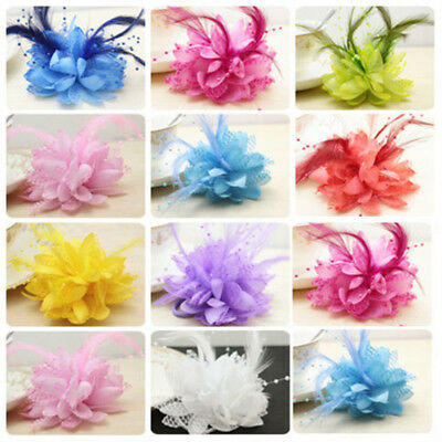 AC_ Bridal Bridesmaid Wrist Corsage Hand Flowers with Feather Wedding Party Deco