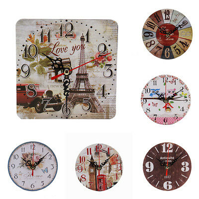 Ac_ Eg_ Vintage Chic Wooden Round Square Analog Wall Clock Home Office Decor Ver