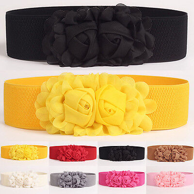 AC_ Women Girl Wide Stretch Elastic Waist Belt Solid Color Flower Waistband Nove