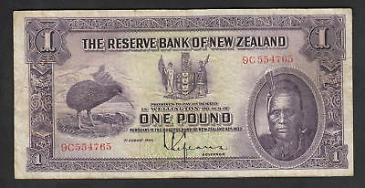 NEW ZEALAND P-155. (1934-40) 1 Pound - Lefeaux.. Prefix 9C..  Fine