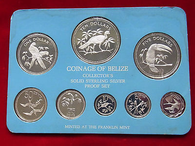 Belize. 1975 8 Pce - Silver PROOF Set..  1,5,10,25 & 50c, $1,$5 & $10 Dollars