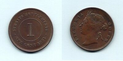 Straits Settlements.. 1901 One Cent..  gEF/aU