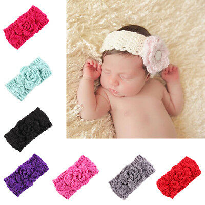 AC_ EG_ Cute Toddler Girl Newborn Baby Elastic Knit Flower Headband Accessory Sa