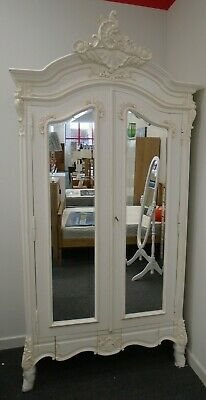 ANTIQUE FRENCH LOUIS Style Ivory Solid Wood  Mirrored Armoire Wardrobe - E35