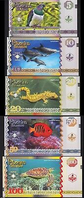 Pitcairn Islands 5 Pcs Set Unc 5 10 20 50 100 Pounds 2018 Same Serial Number