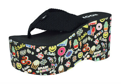 1d6970eb984b1 Rocket Dog Big Top Womens Flip Flops Random Objects Large Platform Sandals  Black