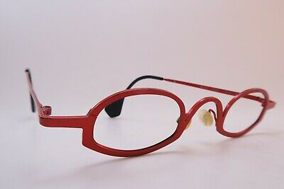 Vintage Theo eyeglasses frames red titanium Mod CLLIPS made in Belgium