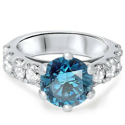 3 1/2ct Treated Blue Diamond Engagement Ring 14K White Gold Round Cut Solitaire