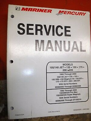 mercury mariner outboard 150hp 200hp 225hp super magnum workshop repair manual download 1992 2000