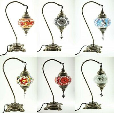 Authentic Turkish Moroccan Colourful Glass Mosaic Lamp Bohemian Desk Table Lamps