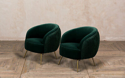 Pair Of Pine Green Velvet Dining Chairs Contemporary Modern Dining Chairs
