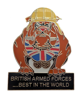 British Armed Forces Bulldog 'Best In The World' Flag Pin Badge