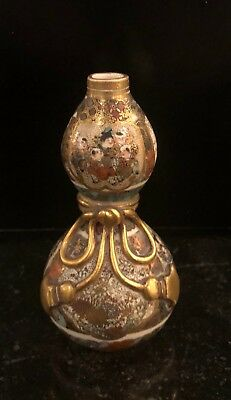 Rare Antique Satsuma Japanese Pottery Miniature Gourd Vase 19C