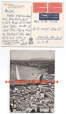 1959 SWITZERLAND Cover GENEVE To ONEIDA NY USA Aerial View RP Postcard