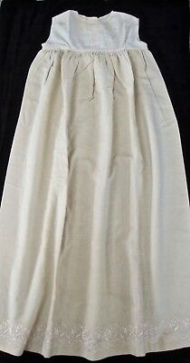 antique Edwardian girls winter wool long slip w embr. edge, cotton bodice, 2-3?