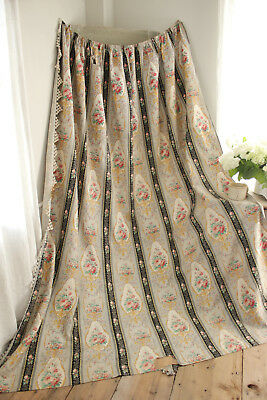 Curtain Antique 1880 Belle Epoque fabric French floral striped drip trim drape
